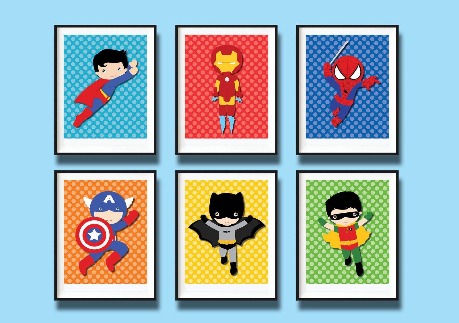 6X Superhero ART Prints Nursery Room Wall ART Decor Baby BOY.