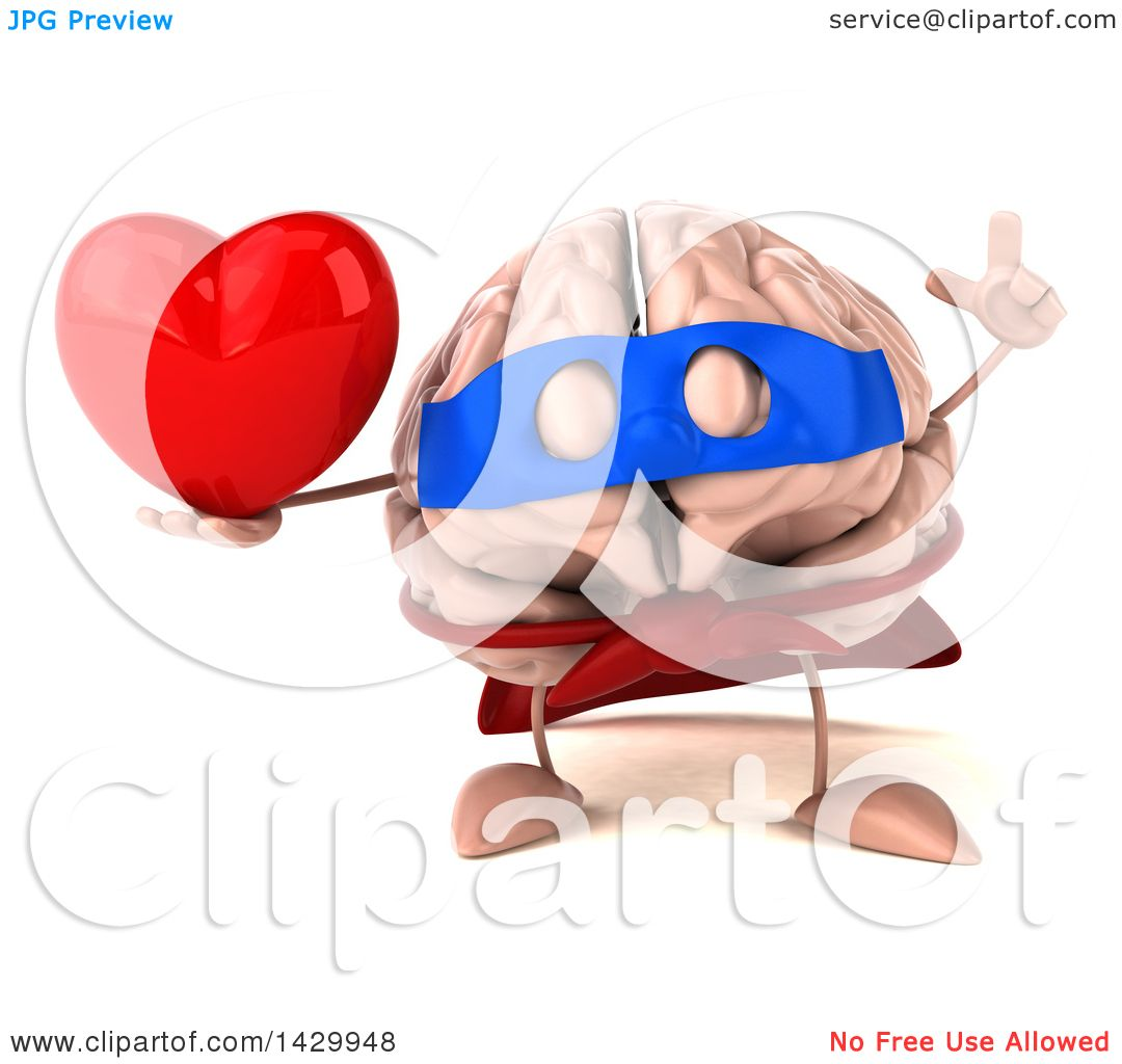 Clipart of a 3d Super Brain Character, on a White Background.