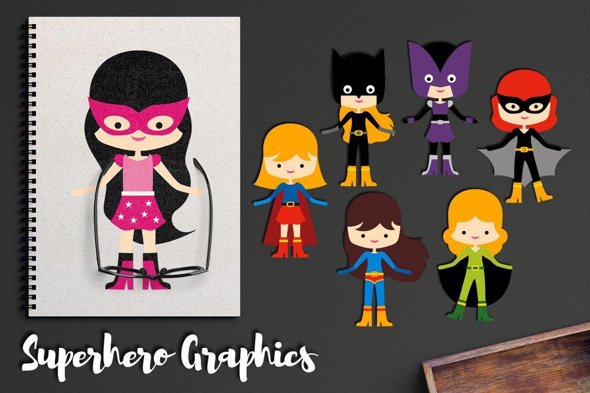 Superhero girls clipart, super girl clip art graphic illustr.