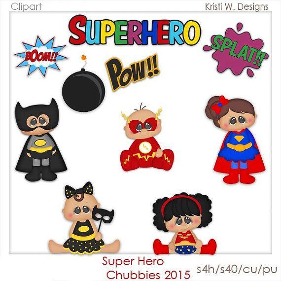 DIGITAL SCRAPBOOKING CLIPART Super Hero Chubbies by.