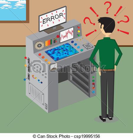 Clipart Vector of Error supercomputer.