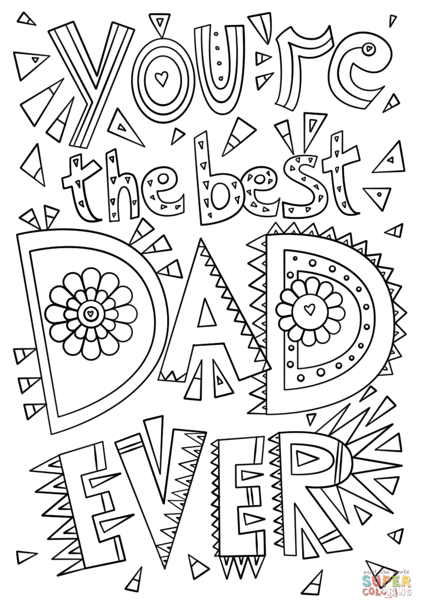 You\'re the Best Dad Ever coloring page.