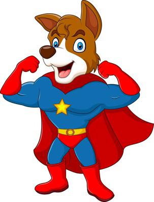 Clip Art of Super Hero Dog.
