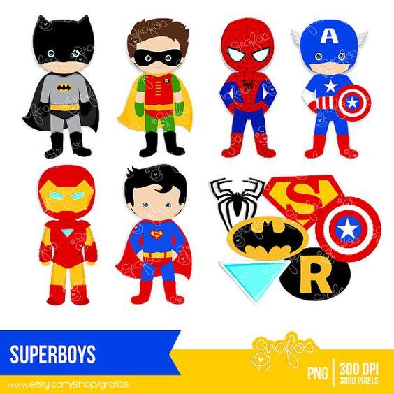 SUPERBOYS Digital Clipart Digital Clipart Superhero by grafos.