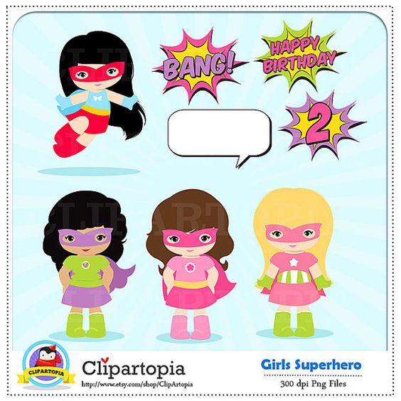 Girl Superhero Clip Art / Super hero Girls Digital clipart.