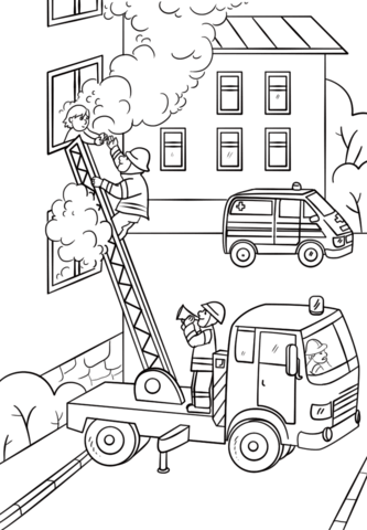 Fireman is Climbing up the Truck Ladder to Save a Girl.