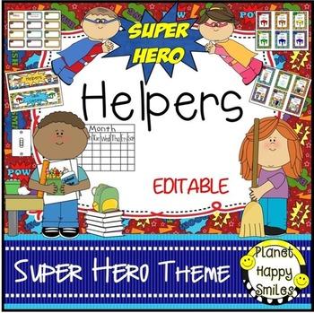 Classroom Helper Jobs (EDITABLE) ~ Super Hero Theme.