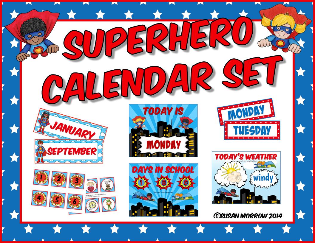 Superhero Calendar Set.
