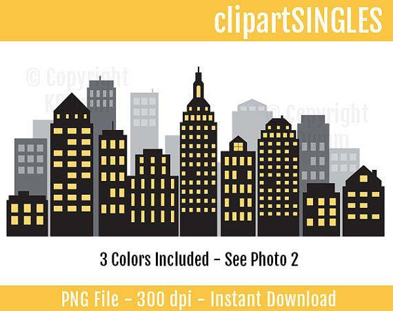 Digital Clipart, Skyline, Cityscape, City Scape, Super Hero.