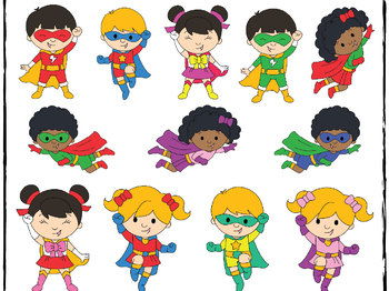 Superhero Kids Clipart.