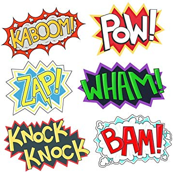 Superhero Party Cardboard Superhero Sounds Sayings Word Cutouts ( 6  different pcs in 1), 16,5\'\'x 11\'\' per word, BAM POW WHAM ZAP KABOOM  KNOCK.