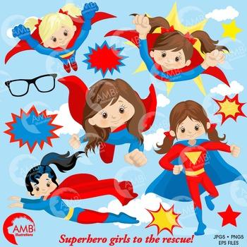 Superhero Clipart, Superwoman Girls clipart, AMB.