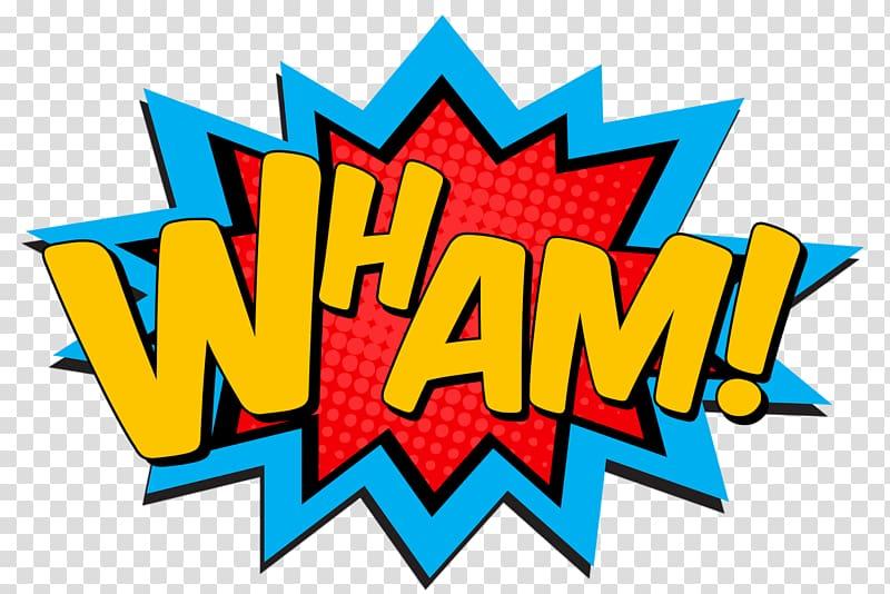 Wham! text illustration, Superman Pop art Superhero Comic.