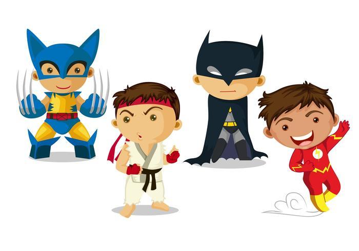 Super Hero Kid Vectors.