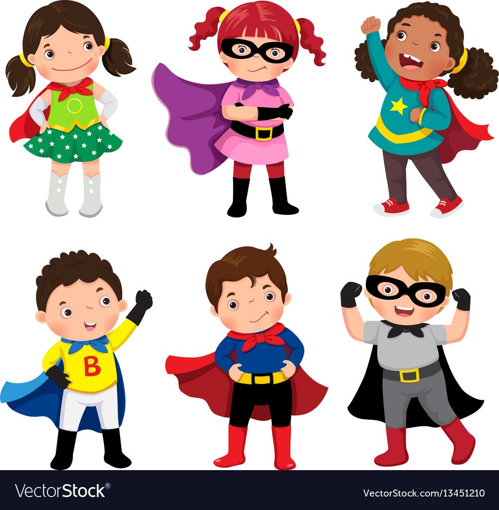 Boys and girls in superhero costumes on white Vector Image.