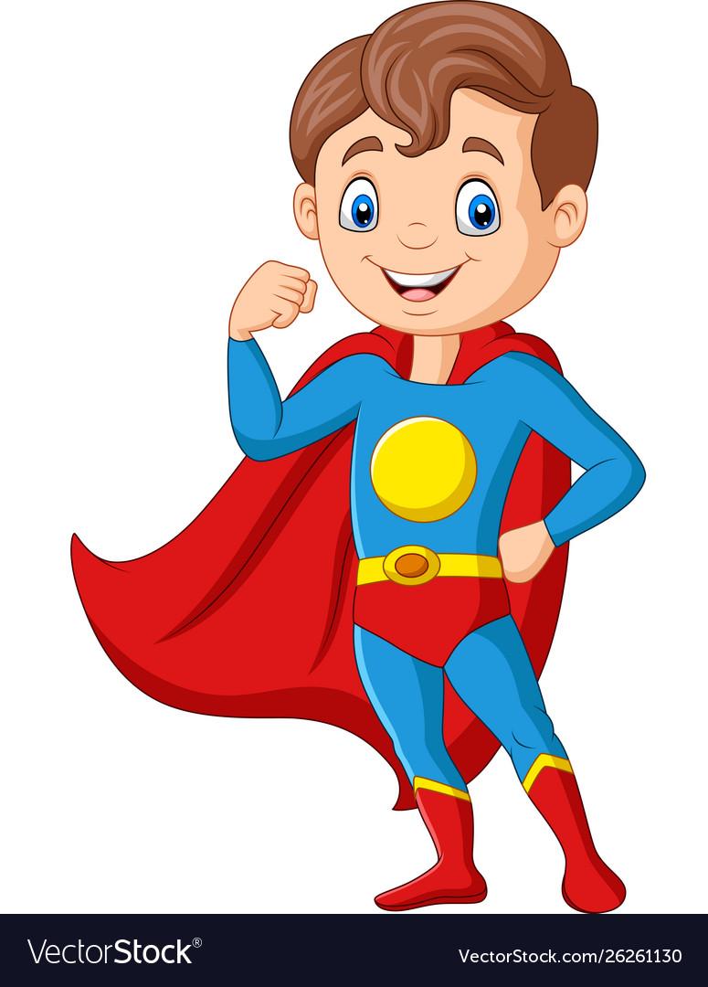 Cartoon happy superhero boy posing.
