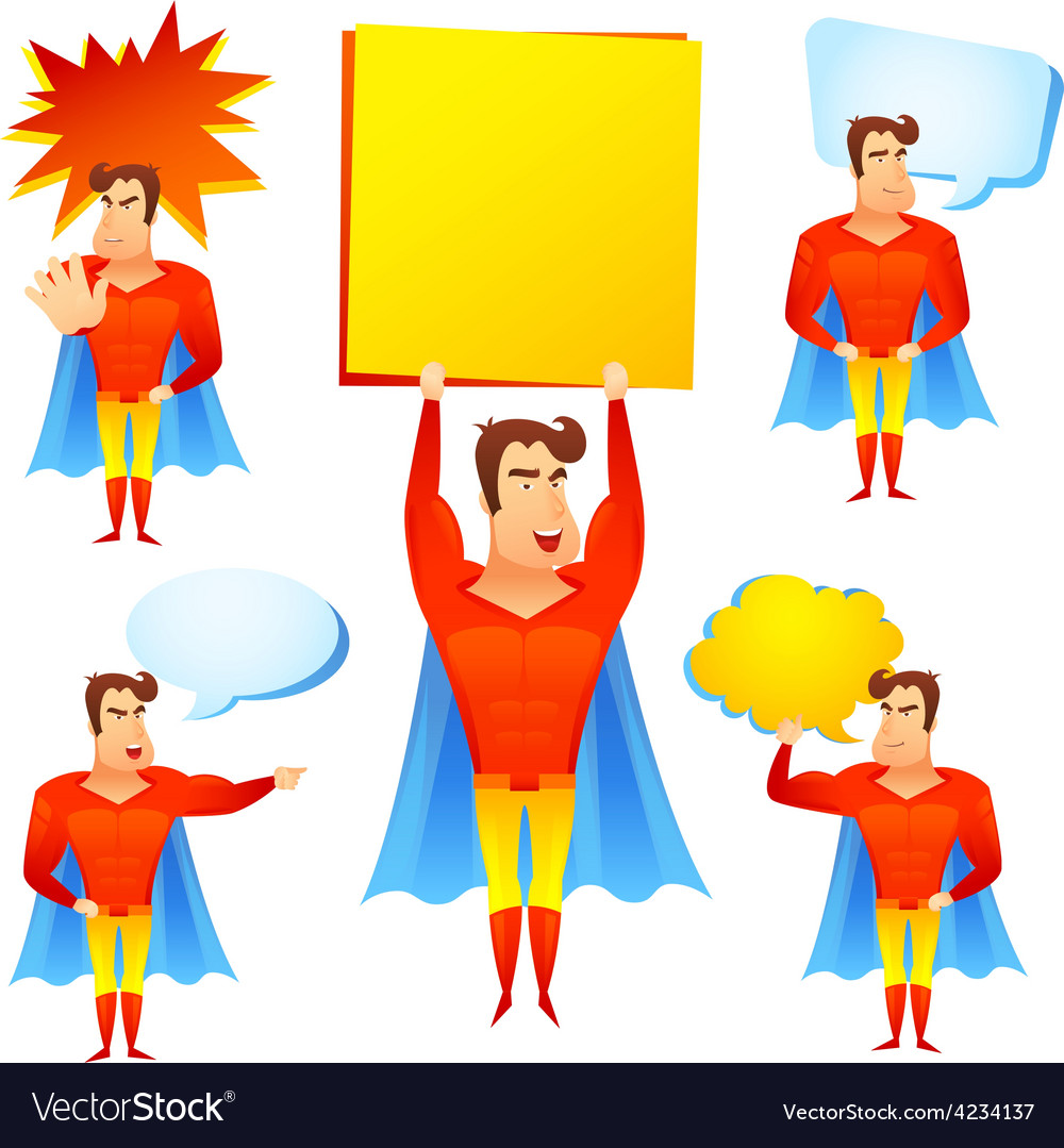 Superhero cartoon character with speech bubbles.