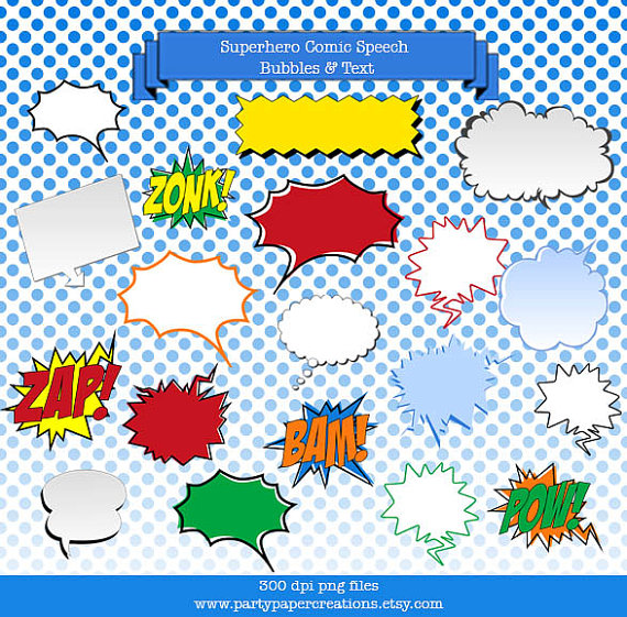 Superhero Speech Bubbles and Banners Clipart.