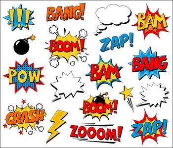 Superhero Clipart Comic Book Speech Bubbles, Boom, Zap, Bang, Bam, Crash,  Pow.