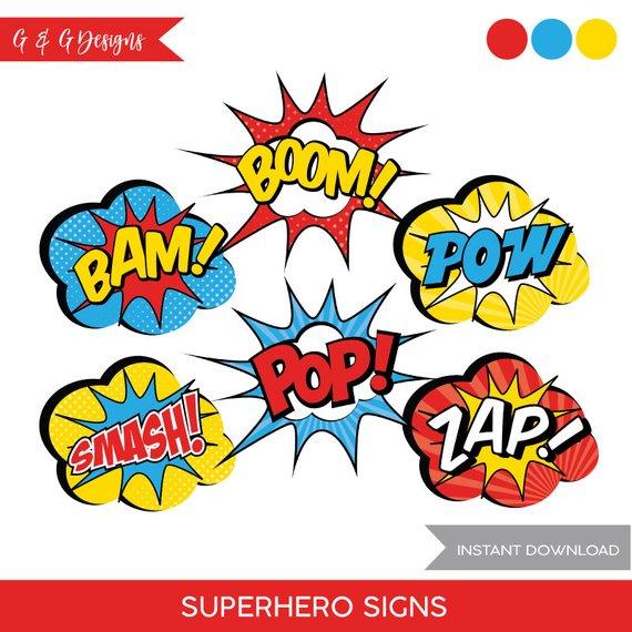 Superhero Speech Bubble Comic Book Signs.