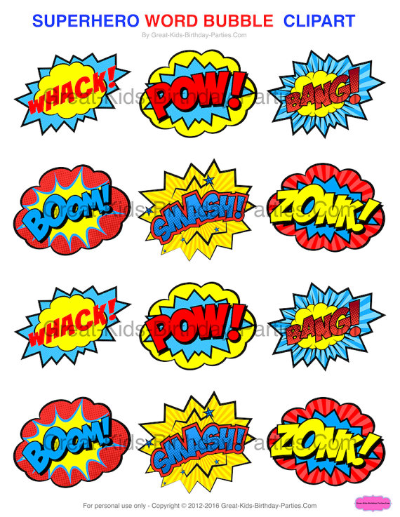 Superhero Bubble Clipart.