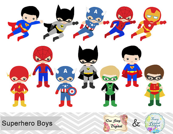 24 Superhero Boys Digital Clipart, Superhero Clip Art, Boy.