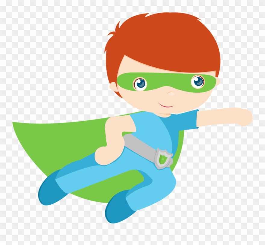 Kids Dressed As Superheroes Clipart.