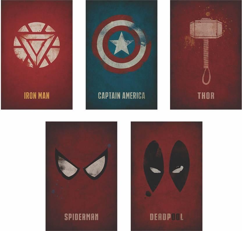 Marvel Superheroes Logo set of 5.
