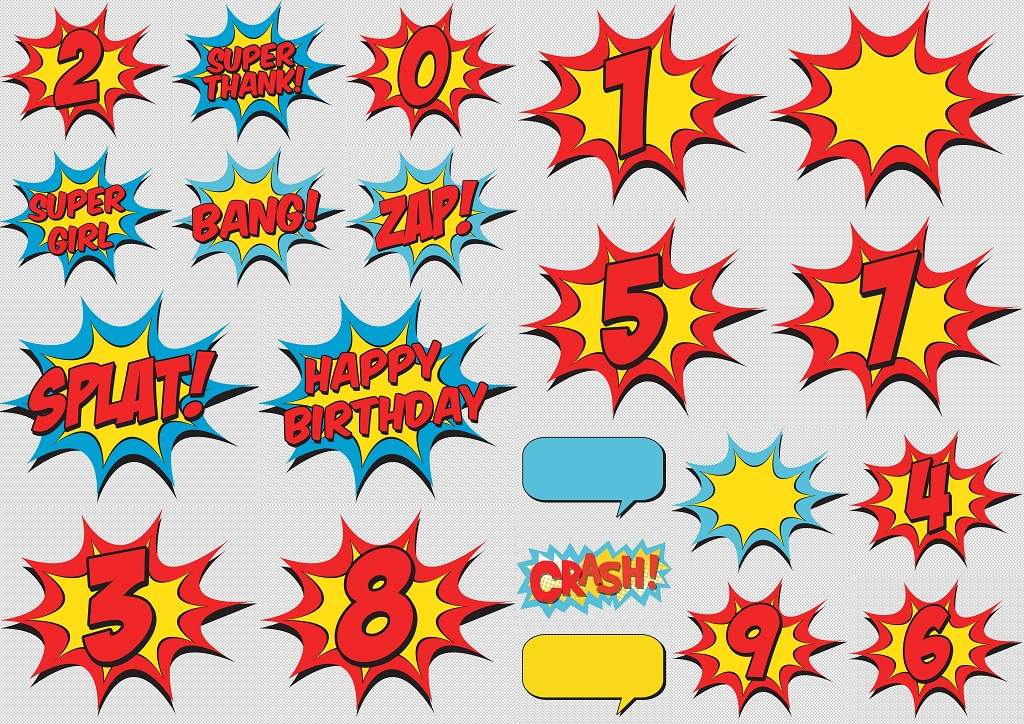 Signs and Numbers of the Wonder Woman Baby Clipart..