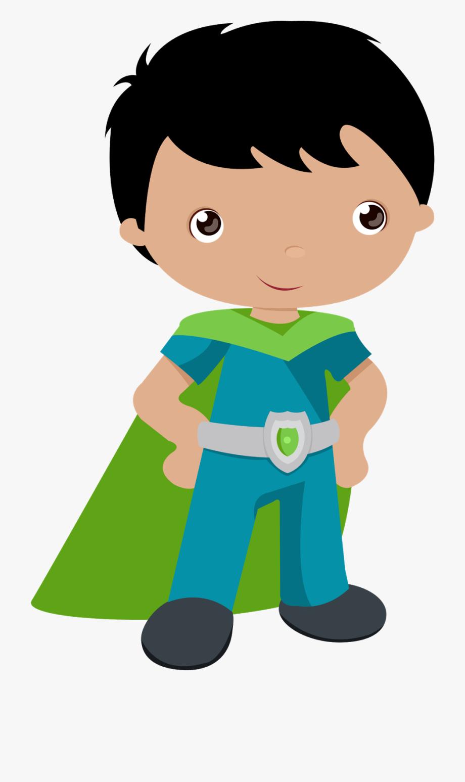 Kids Dressed As Superheroes Clipart.