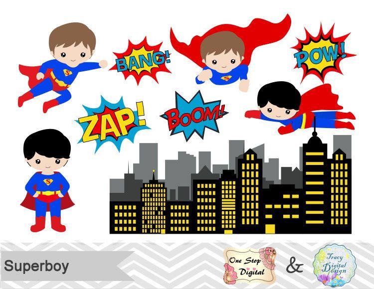 Digital Superhero Clip Art, Superhero Digital Clipart, Super.