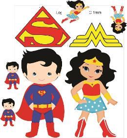 Kit Displays Superman E Mulher Maravilha Baby.