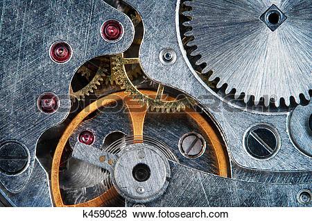 Pictures of Mechanical jewel watch clockwork , super macro.