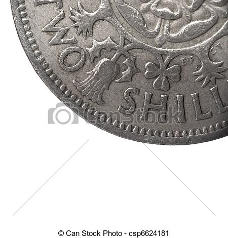 Stock Photography of super macro closeup of british two shillings.
