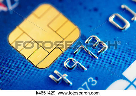 Stock Photograph of Smart card super macro , credit card chip.