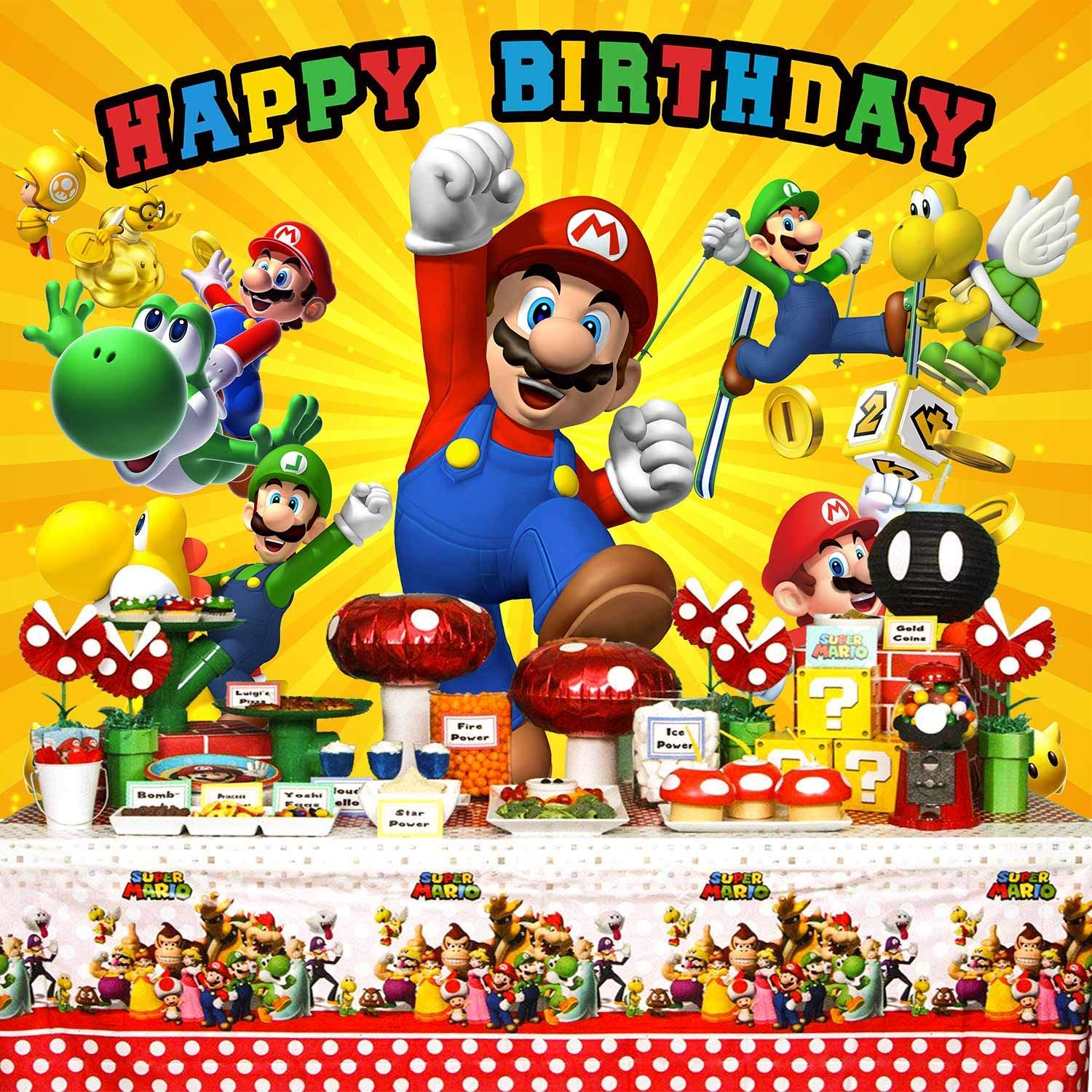 Super Mario Backdrop, Super Mario Background,Super Uncle Bros with  Mushrooms Photography Background Cartoon Kids Children Birthday Party Banner.