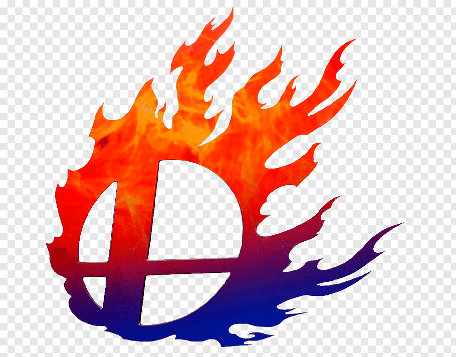 Red and blue flame logo, Super Smash Bros. for Nintendo 3DS.
