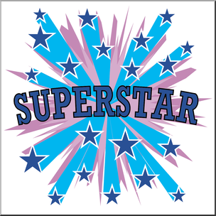 Clip Art: Starburst Superstar Color I abcteach.com.