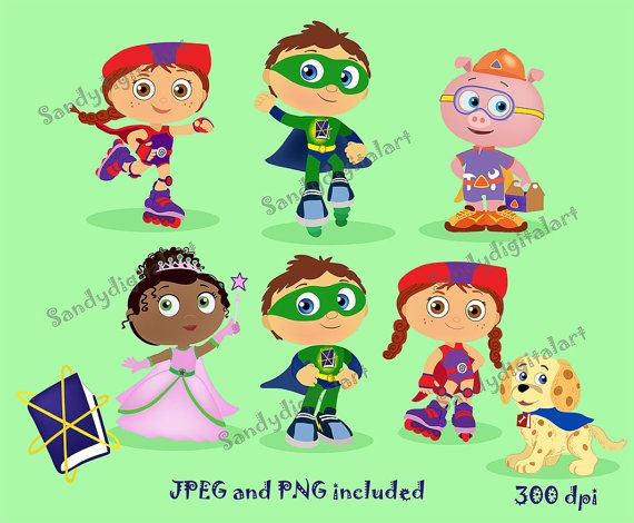 50% Super Why clipart. Super Why party. Personal and.