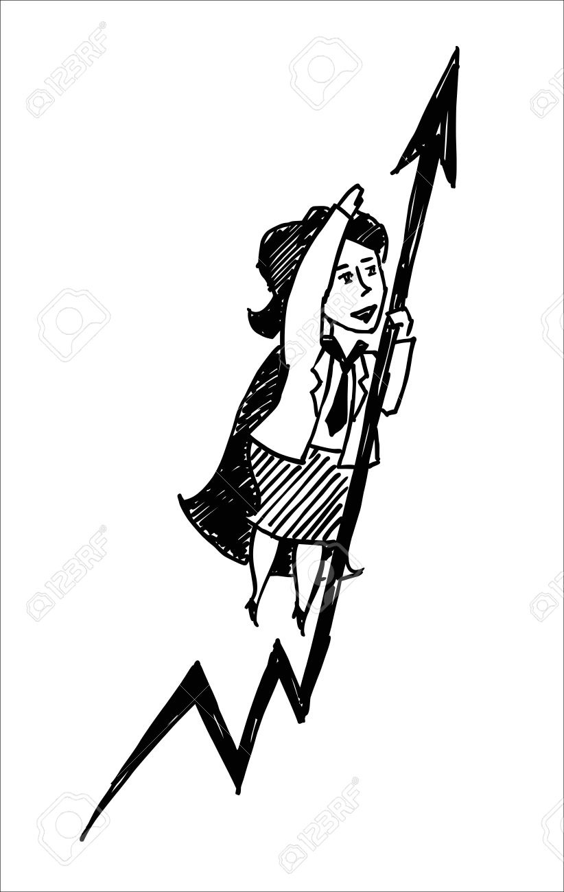 A Vector Sketch Of A Superwoman With An Arrow Royalty Free.