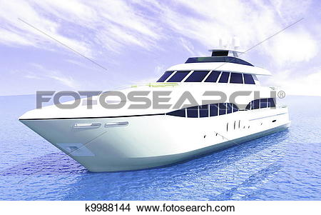 Drawings of luxury white cruise yacht k9988144.