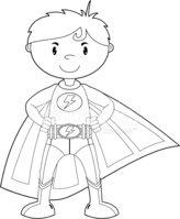 Colour IN Super Boy Hero Character Stock Vector.