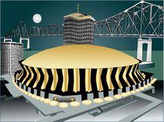 New Orleans Superdome Cityscape Funky Pop Art Original Painting.