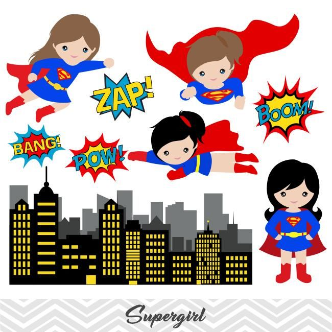 Super Woman Digital Clip Art, Superman Clipart, Supergirl.