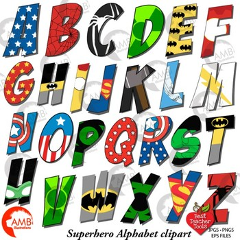 Superhero Alphabet Clipart, Uppercase Letters, {Best Teacher Tools} AMB.