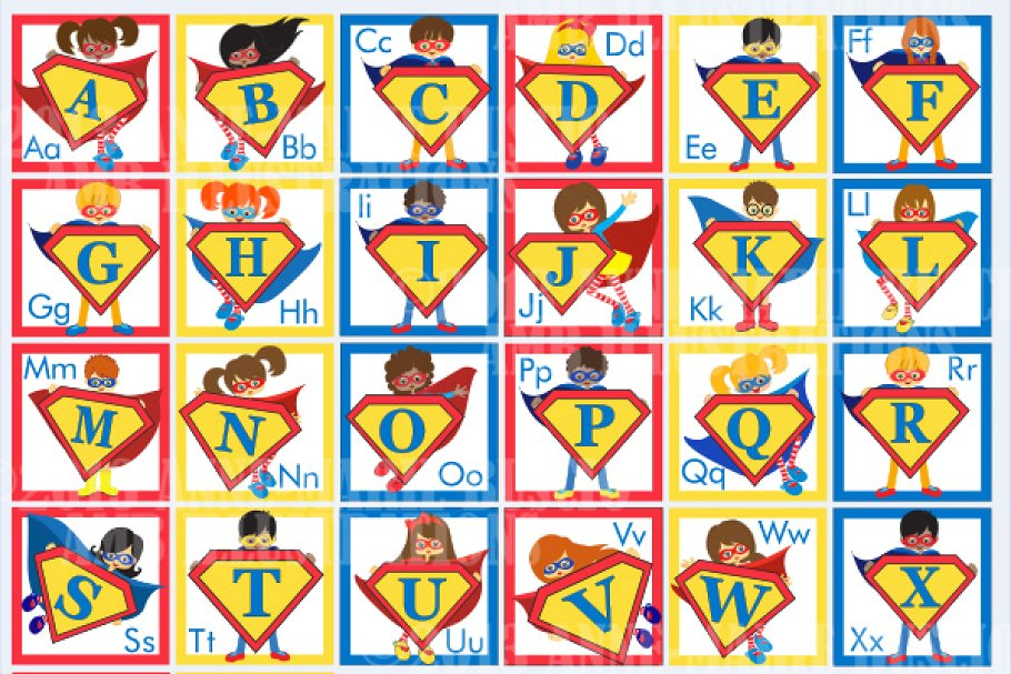 Superhero Alphabet Clipart AMB.