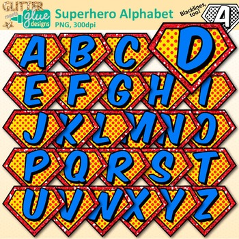 Superhero Alphabet Clip Art: Letter Recognition Graphics {Glitter Meets  Glue}.