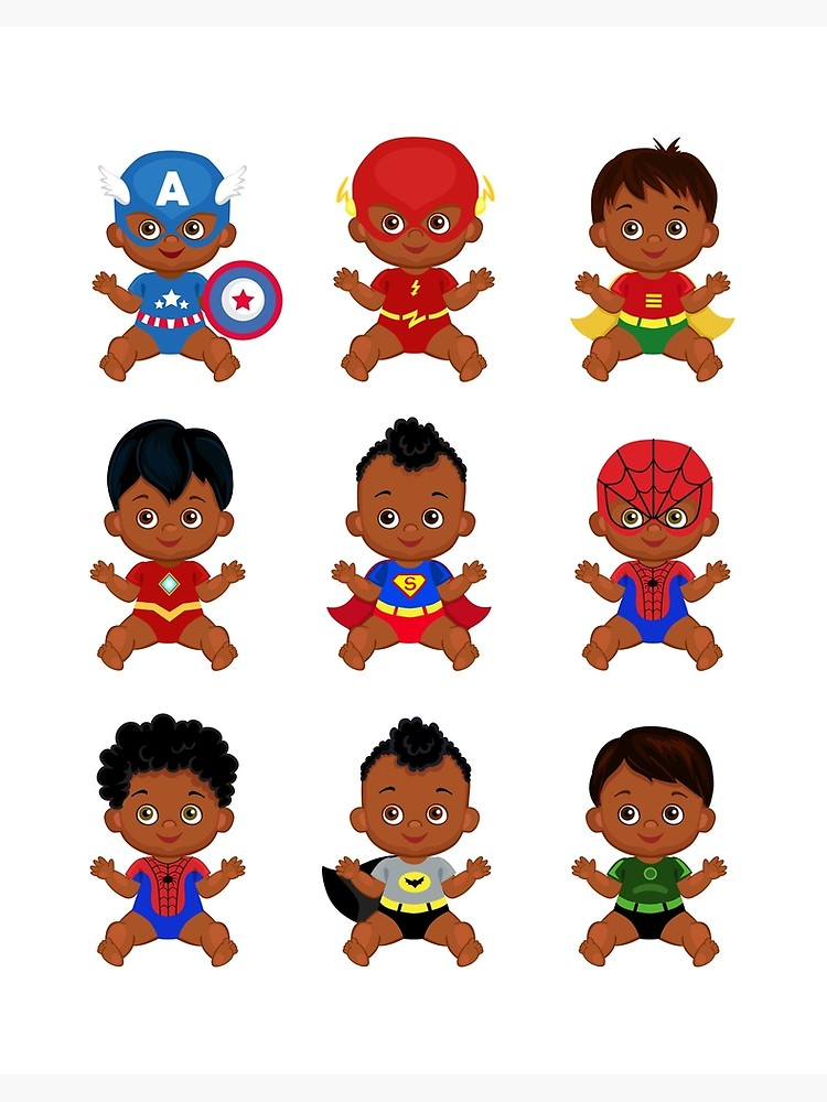 \'African American Superhero baby, Superhero Multicultural Baby Costumes,  SuperBaby Boys Clipart.\' Art Board Print by Sandytov.