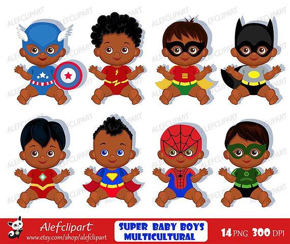 African American Superhero baby clipart , Superhero.