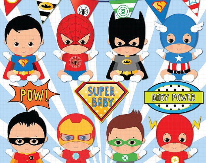 Superhéroe bebé niño clipart, Super bebé, bebé niños clipart.
